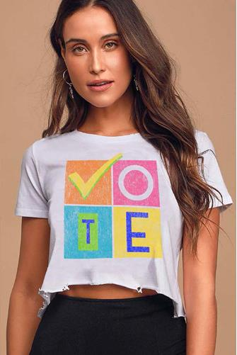90's Vote Cut Off Crop Tee WHITE