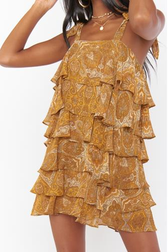 Golden Paisley Ruffle Mini Dress GOLD