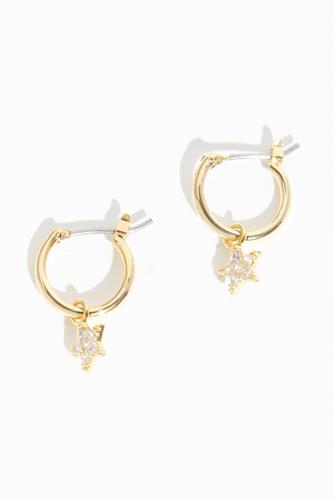 Cubic Zirconia Star Huggie Earrings GOLD