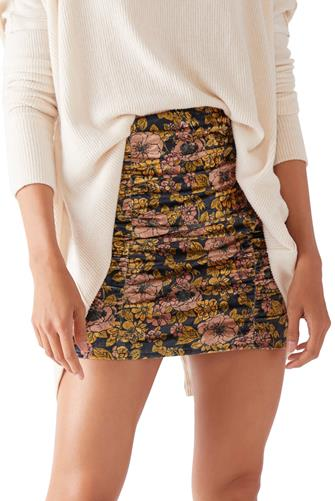 Gigi Floral Velvet Mini Skirt BLACK MULTI -