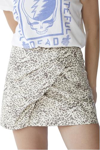 Leopard Printed Fake Out Faux Wrap Skirt WHITE-MULTI--