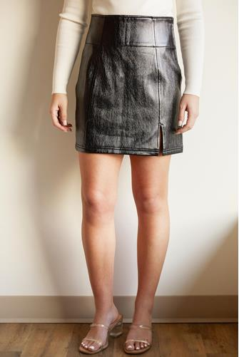 Holding Onto A Dream Coated Mini Skirt BLACK
