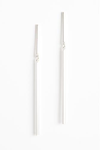 Silver Linear Bar Drop Earrings SILVER