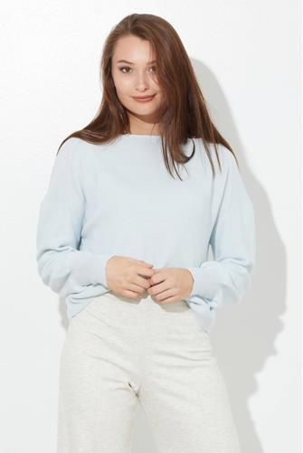 Light Blue Bishop Sleeve Sweater LITE-BLUE