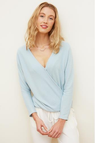 Ribbed Hacci Surplice Top LITE-BLUE