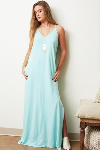 Draped Jersey Maxi Dress BLUE