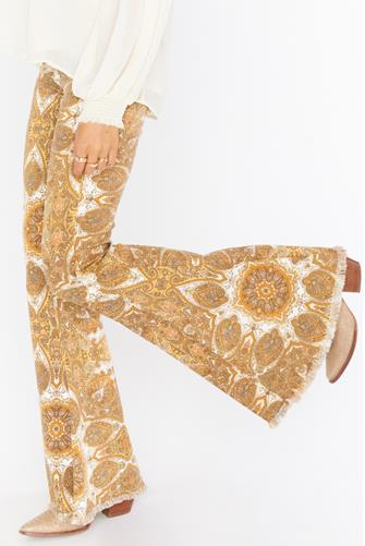 Berkeley Zip Up Bells Jean in Golden Paisley GOLD