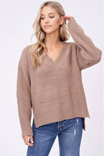 Ribbed Hi-Low V-Neck Sweater TAUPE