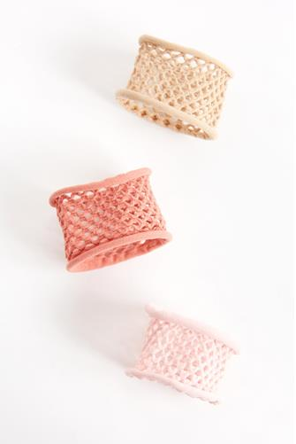 Blush Fishnet Hair Tie Three Pack MULTI