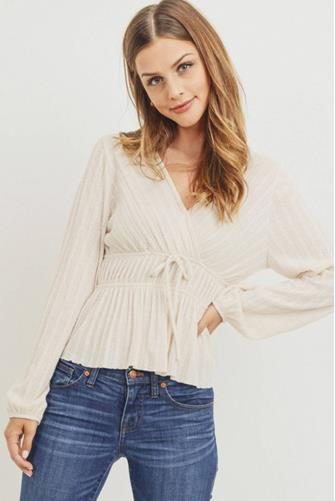 Textured Knit Surplice Top IVORY