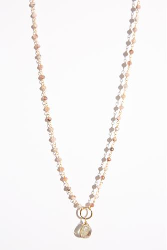 Beaded Chain Stone Necklace PINK-MULTI--
