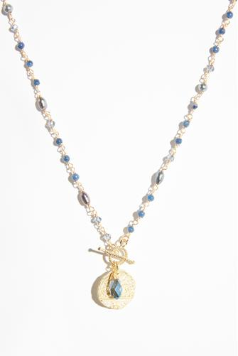 Blue Beaded Chain Toggle Necklace BLUE-MULTI--