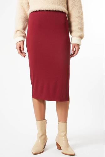 Burgundy Rib Knit Slit Midi Skirt BURGUNDY