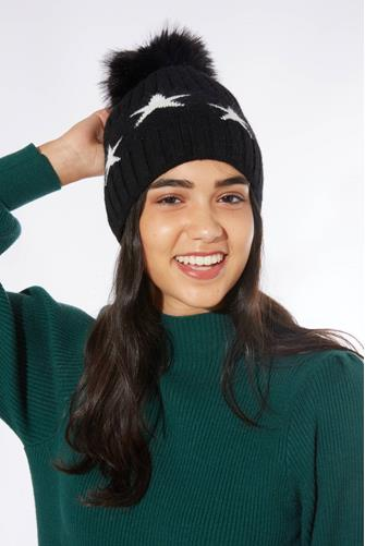 Black Polar Star Pom Beanie BLACK