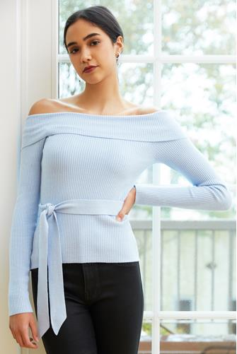 Light Blue Off Shoulder Fitted Pullover LITE-BLUE