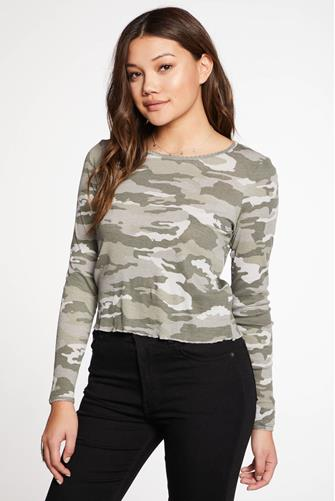 Camo Baby Rib Scallop Long Sleeve Top CAMO