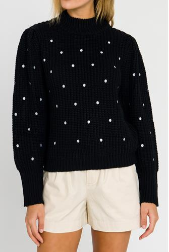 Polka Dot Pullover BLACK