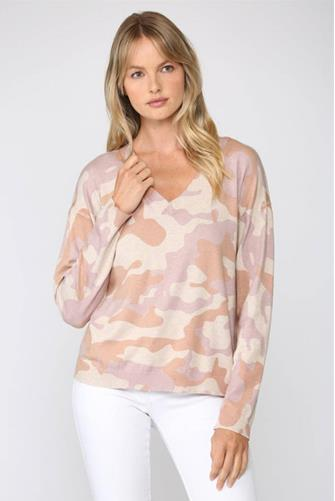Dusty Rose Camo V-Neck Pullover PINK-MULTI--