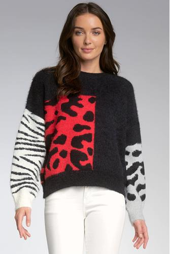 Colorblock Sleeve Sweater RED