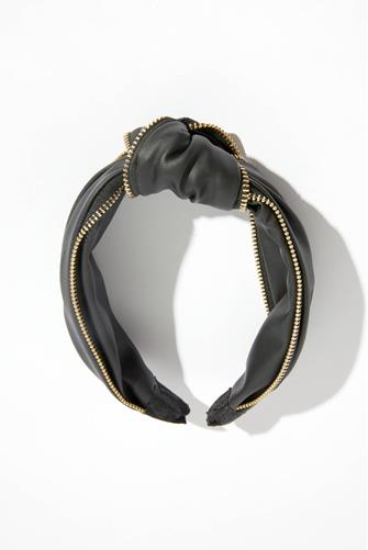 FAUX LEATHER KNOT HEADBAND BLACK