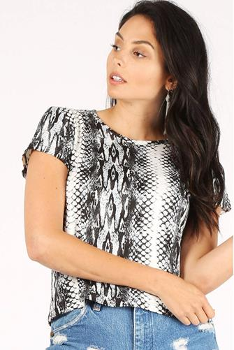 Boa Print Snake Crop Top GREY