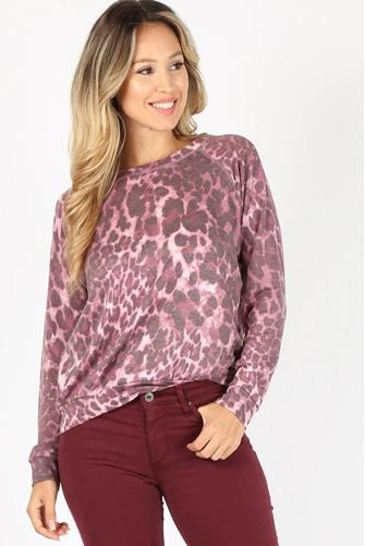 Purple Leopard Sweatshirt PURPLE