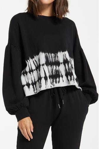 Tempest Stripe Tie-Dye Fleece Pullover BLACK