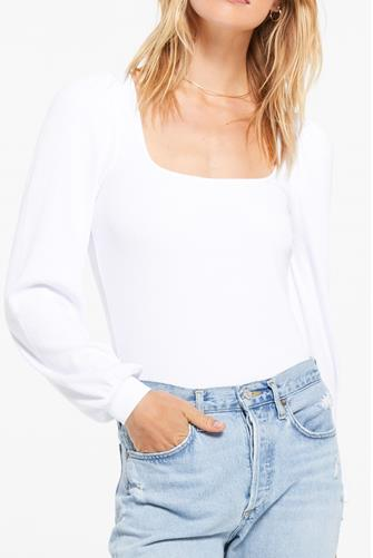 Willow Rib Long Sleeve Top IVORY