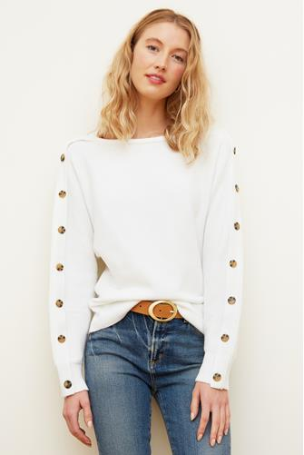 Boatneck Button Sleeve Pullover IVORY