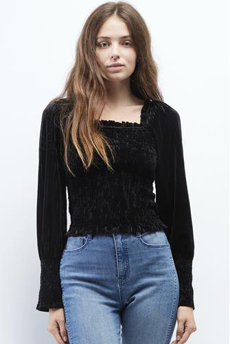 Square Neck Smocked Velvet Long Sleeve Top BLACK