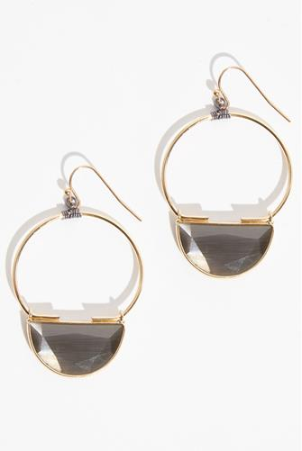 Grey Half Circle Open Circle Drop Earrings GREY