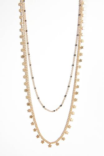 Double Strand Beaded Necklace GOLD