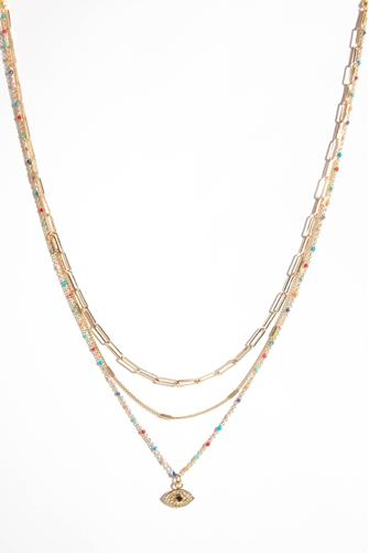 Multi Strand Colored Necklace MULTI