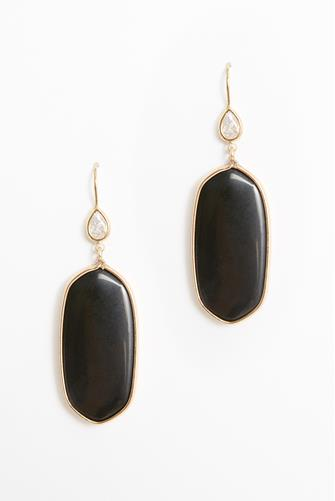 Large Oval Stone Drop Earrings BLACK