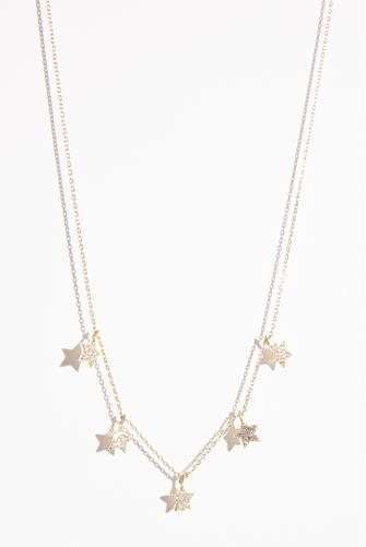 Dainty Cubic Zirconia Star Necklace GOLD