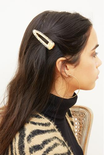 Gold Foil Acrylic Triangle Hair Clip GOLD