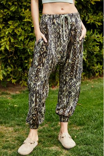 Rise To The Sun Printed Harem Pant BROWN MULTI -