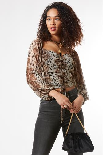 Snake Ruched Top BROWN