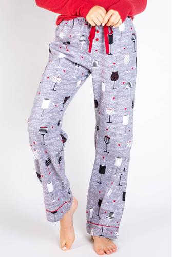 Time To Wine Down Flannel PJ Pant GREY-MULTI--