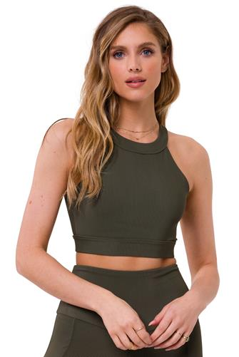 Olive Rib High Neck Crop Top OLIVE