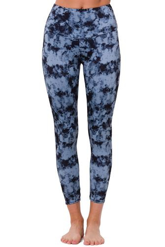 Moonstone Acid Wash High Basic Midi Leggings BLUE-MULTI--