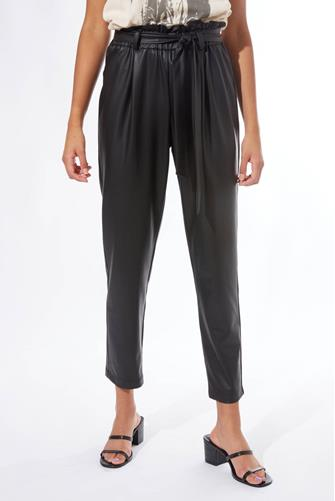 Faux Leather Paperbag Waist Pant BLACK