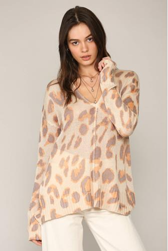 V-Neck Leopard Sweater TAUPE