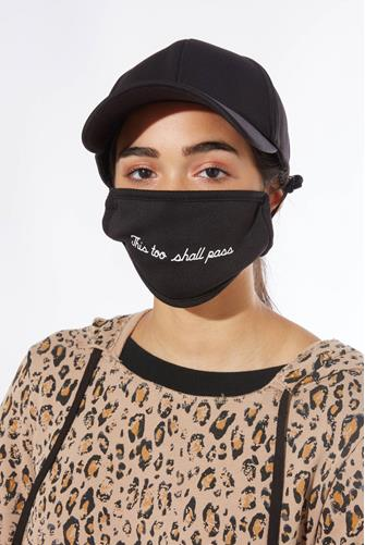 This Too Shall Pass Face Mask & Baseball Hat Set BLACK