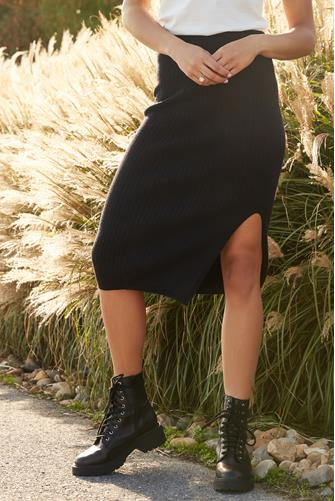 Sweater Knit Ribbed Slit Pencil Skirt BLACK