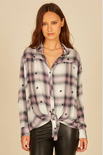 Printed Star Plaid Shirt PINK-MULTI--
