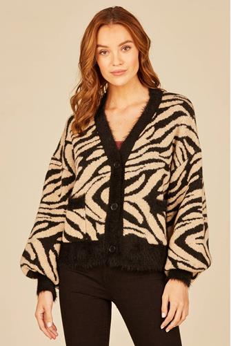 Zebra Button Front Cardigan TAN