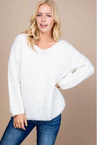 V-Neck Knit Thermal Sweater OFF WHITE