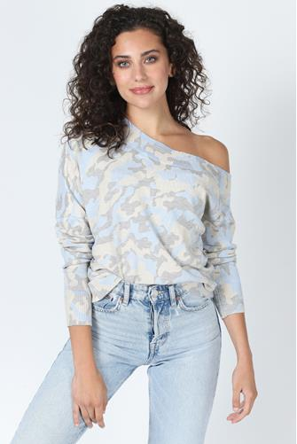 Verbena Camo Off Shoulder Sweater BLUE