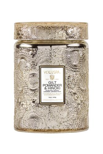 Gilt Pomander & Hinoki Large Jar Candle 18 oz. GOLD